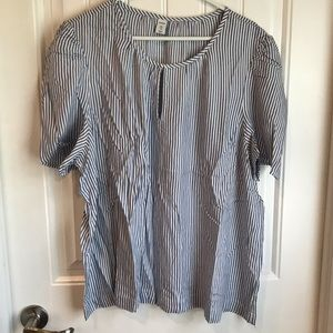 Old Navy puff sleeve ticking stripe top XXL